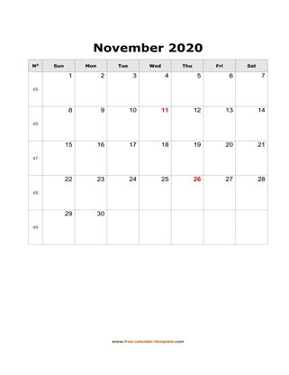 november 2020 calendar simple vertical