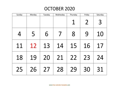 october 2020 calendar bigfont horizontal