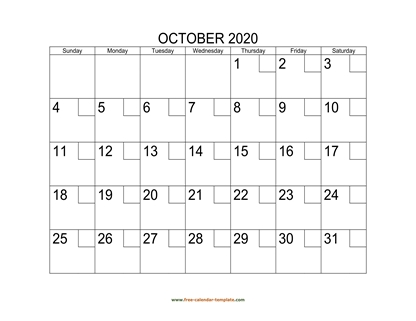 october 2020 calendar checkboxes horizontal