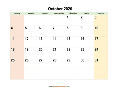 october 2020 calendar colored horizontal
