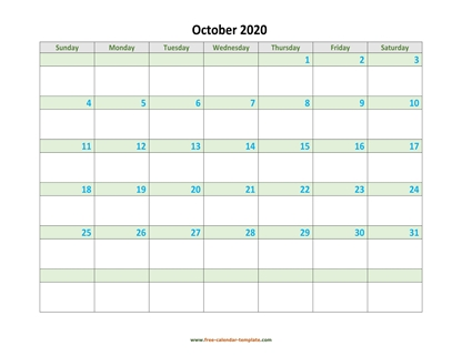 october 2020 calendar daycolored horizontal