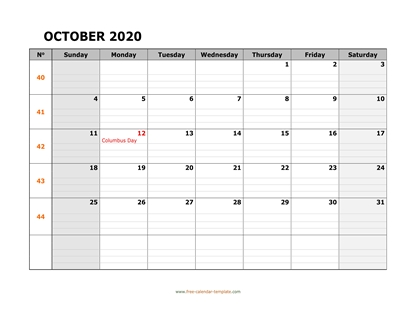 october 2020 calendar daygrid horizontal