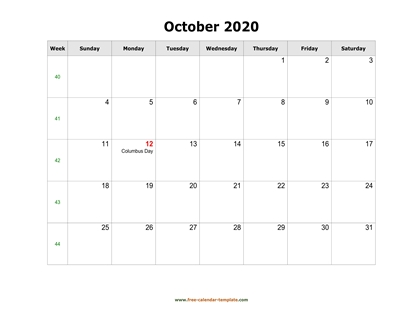 october 2020 calendar holidays horizontal