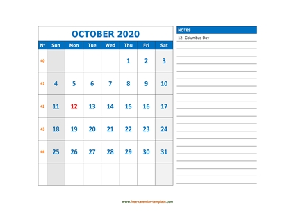october 2020 calendar largenotes horizontal