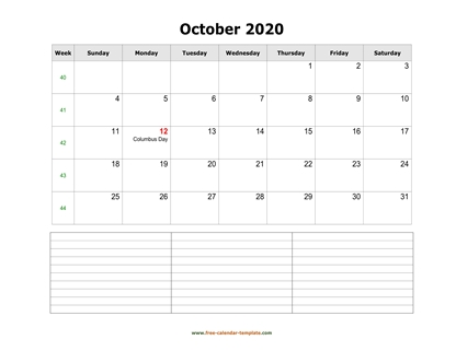 october 2020 calendar notes horizontal
