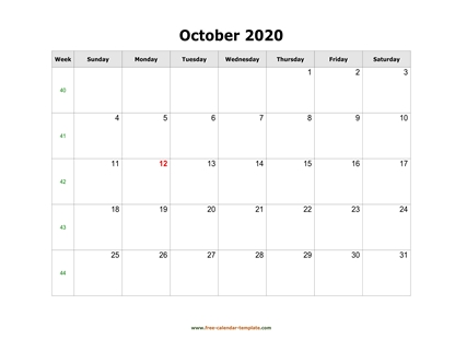 october 2020 calendar simple horizontal