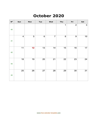 october 2020 calendar simple vertical