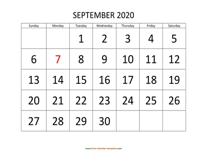 september 2020 calendar bigfont horizontal