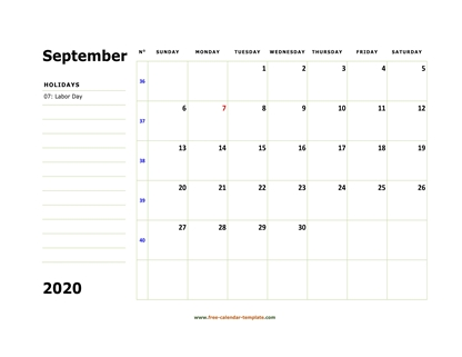 september 2020 calendar boxnotes horizontal