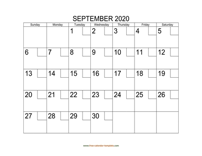 september 2020 calendar checkboxes horizontal