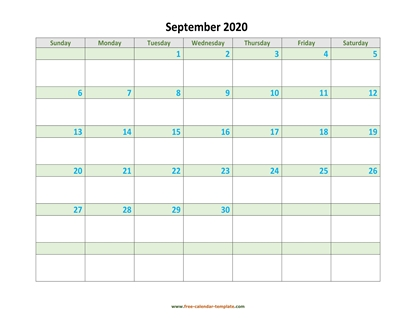september 2020 calendar daycolored horizontal