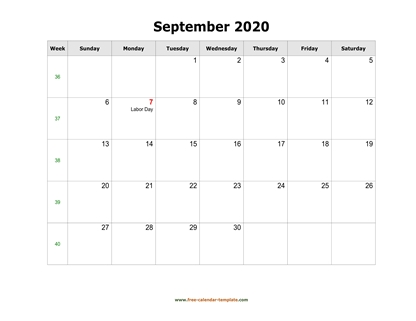september 2020 calendar holidays horizontal