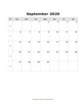 september 2020 calendar holidays vertical