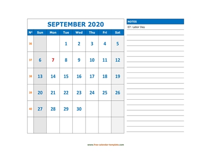 september 2020 calendar largenotes horizontal