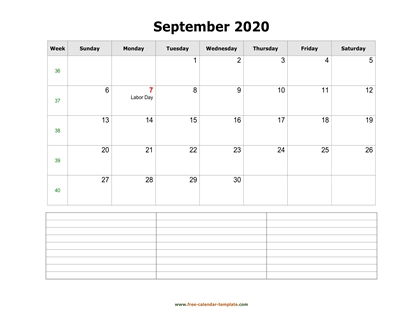 september 2020 calendar notes horizontal
