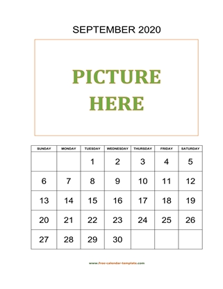 september 2020 calendar picture vertical