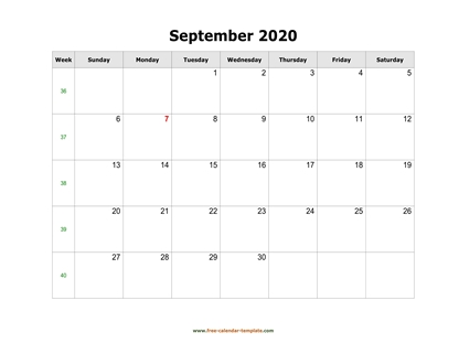 september 2020 calendar simple horizontal