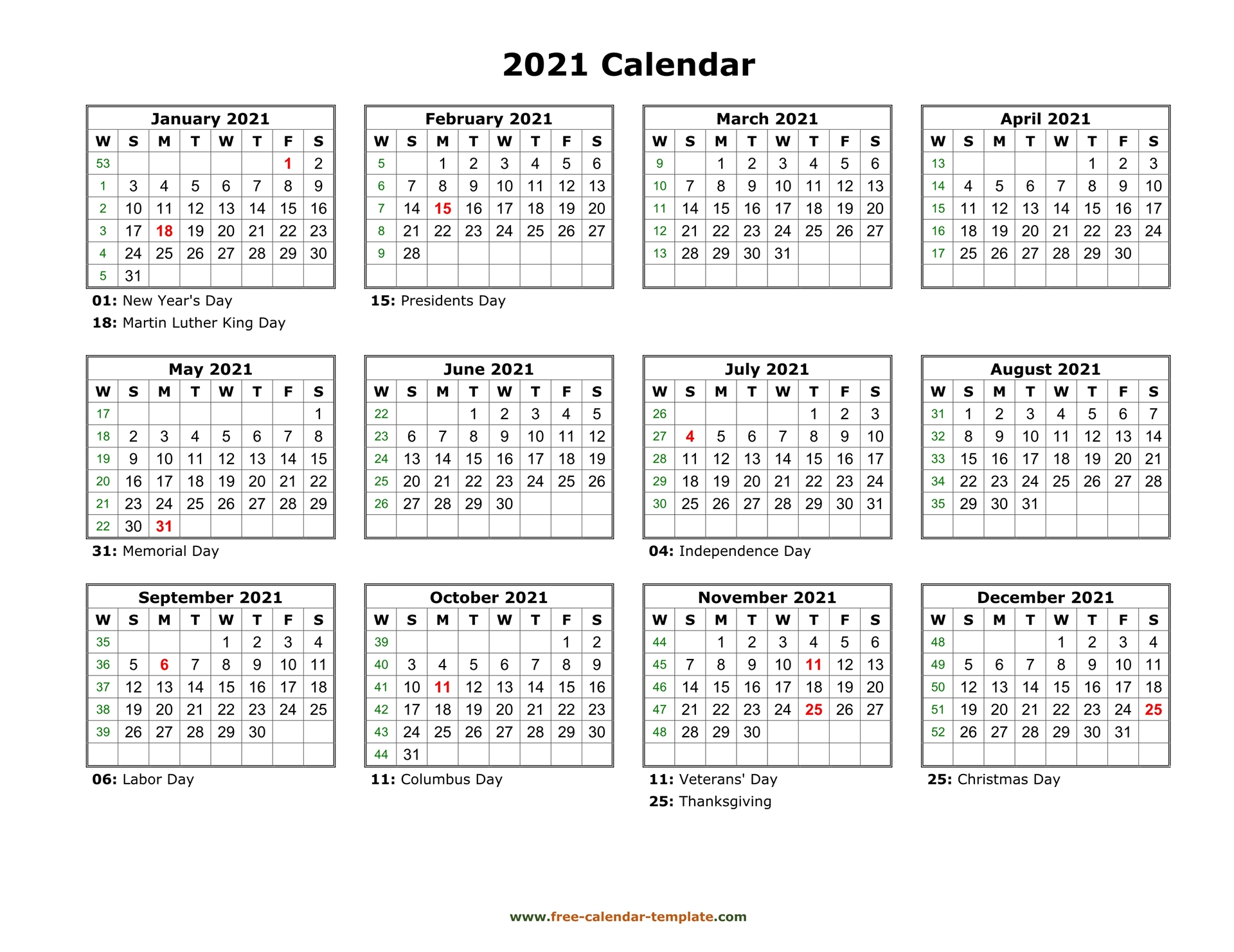 Yearly calendar 2021 printable with federal holidays ...