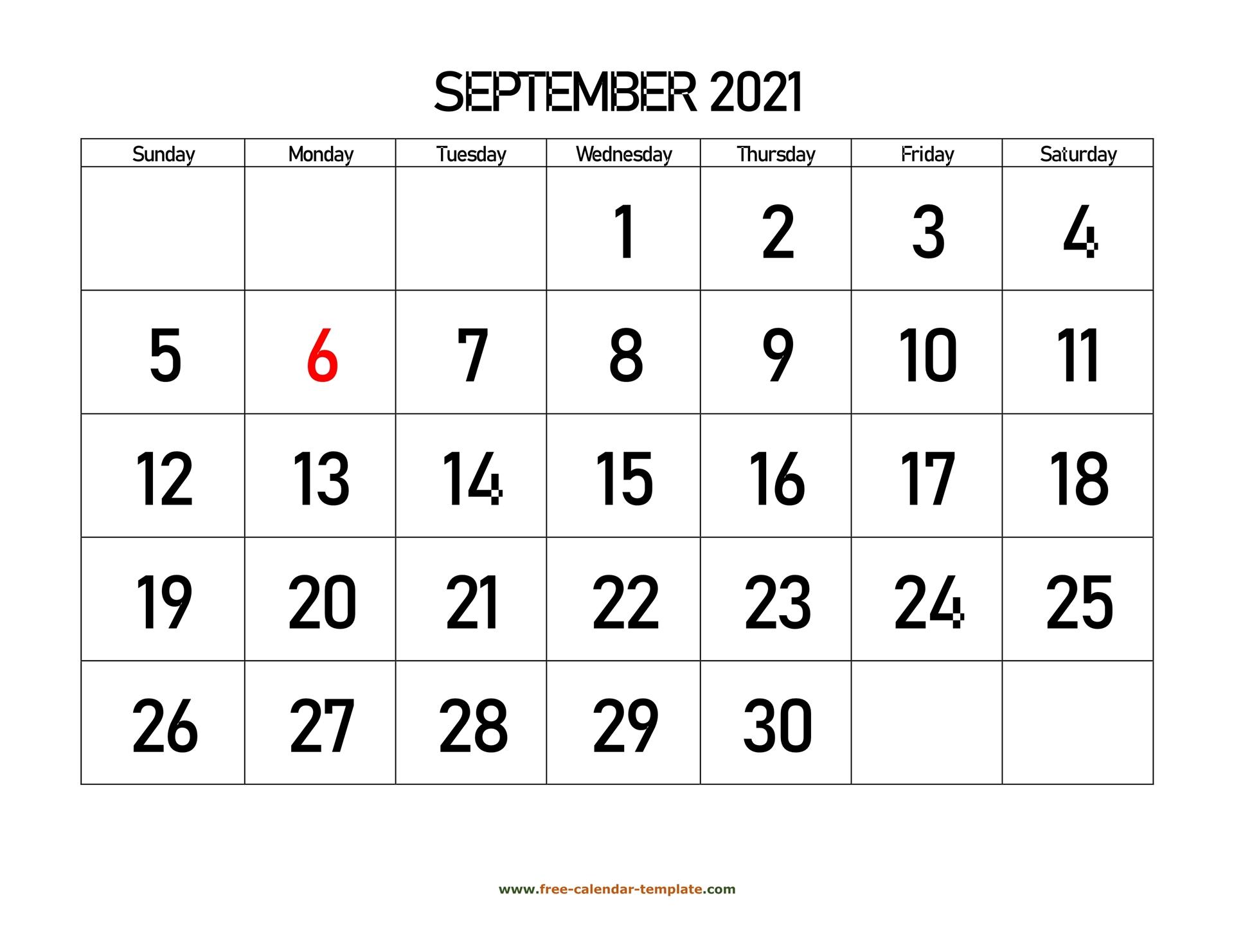 September 2021 Calendar Designed With Large Font Horizontal Free Calendar Template Com