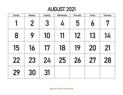 august 2021 calendar bigfont horizontal