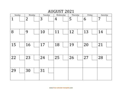 august 2021 calendar checkboxes horizontal