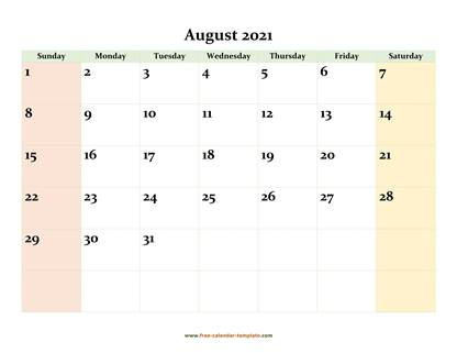 august 2021 calendar colored horizontal