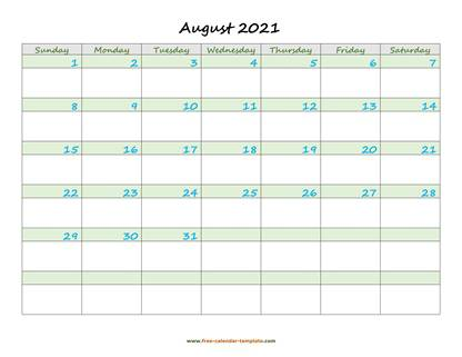 august 2021 calendar daycolored horizontal