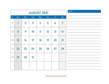 august 2021 calendar largenotes horizontal