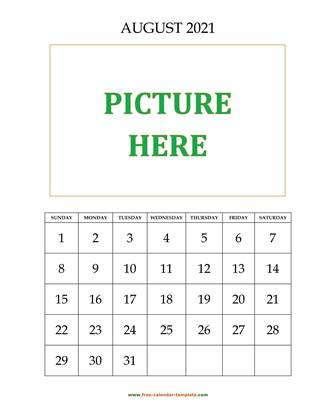 august 2021 calendar picture vertical