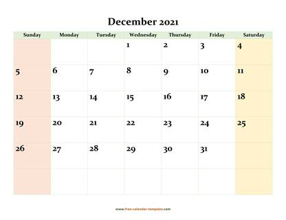 december 2021 calendar colored horizontal