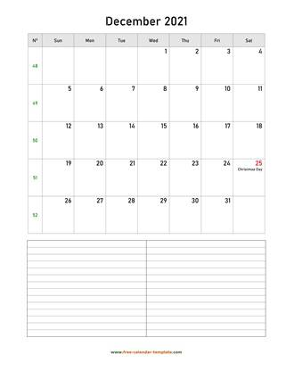 december 2021 calendar notes vertical