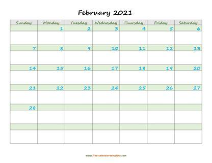 february 2021 calendar daycolored horizontal