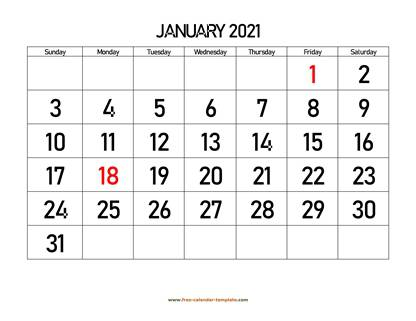 january 2021 calendar bigfont horizontal