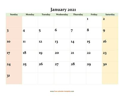 january 2021 calendar colored horizontal
