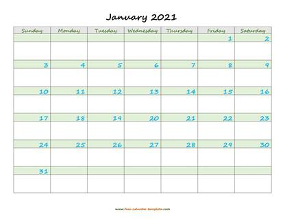 january 2021 calendar daycolored horizontal