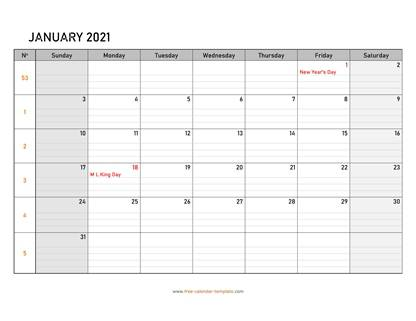 january 2021 calendar daygrid horizontal