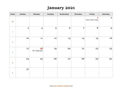 january 2021 calendar holidays horizontal