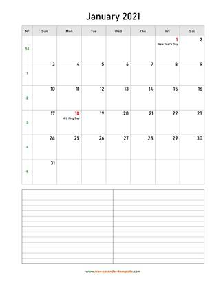 january 2021 calendar notes vertical