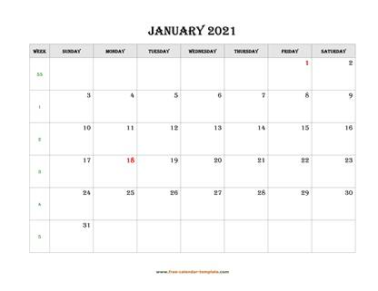 january 2021 calendar simple horizontal