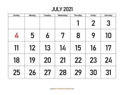 july 2021 calendar bigfont horizontal