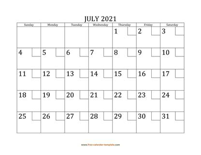 july 2021 calendar checkboxes horizontal