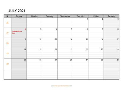july 2021 calendar daygrid horizontal