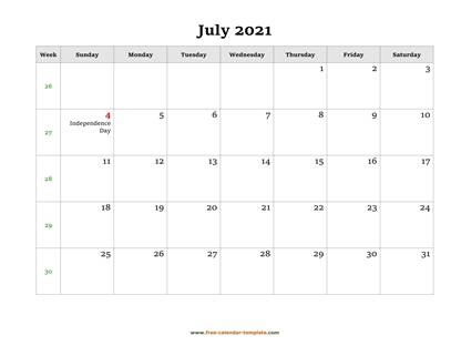 july 2021 calendar holidays horizontal