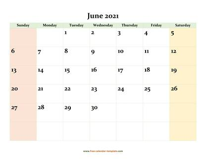 june 2021 calendar colored horizontal