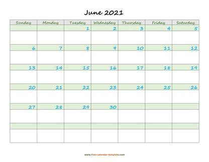 june 2021 calendar daycolored horizontal