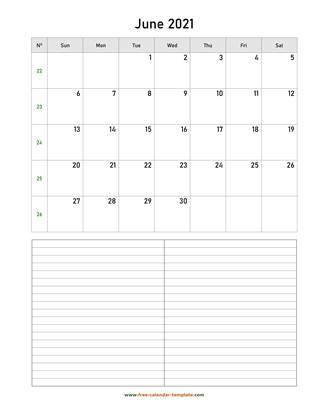 june 2021 calendar notes vertical