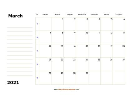 march 2021 calendar boxnotes horizontal
