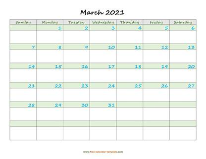 march 2021 calendar daycolored horizontal