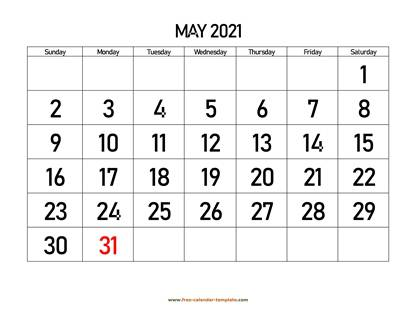 may 2021 calendar bigfont horizontal