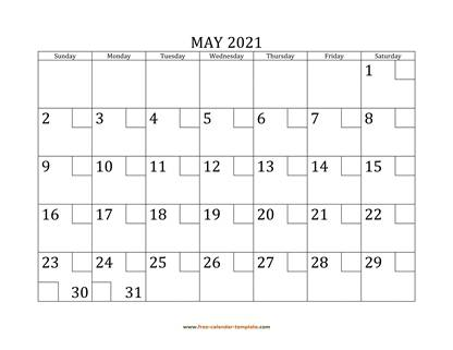 may 2021 calendar checkboxes horizontal